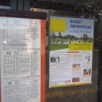 Plakaty promujące głosowanie rozwieszone były nawet na przystankach autobusowych (za zgodą MZDiK)