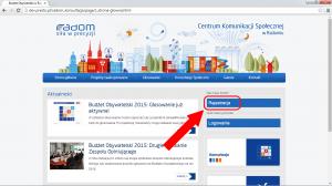 Wejdź na stronę http://konsultacje.radom.pl i kliknij 'Rejestracja'.